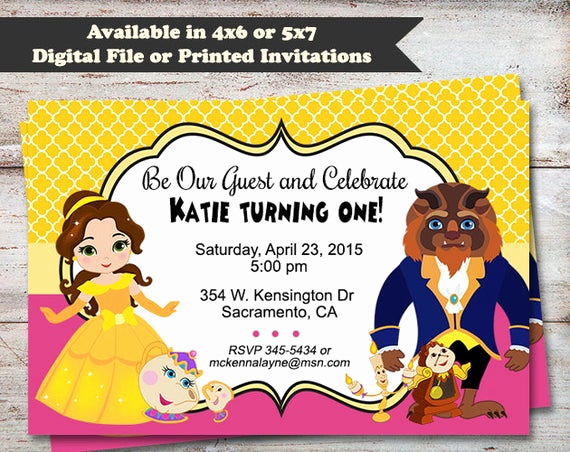 Beauty and the Beast Invitation Elegant Beauty and the Beast Party Invitations Princess Belle