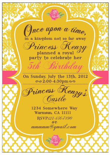 Beauty and the Beast Invitation Elegant Princess Inspired Birthday Baby Shower or Wedding Shower