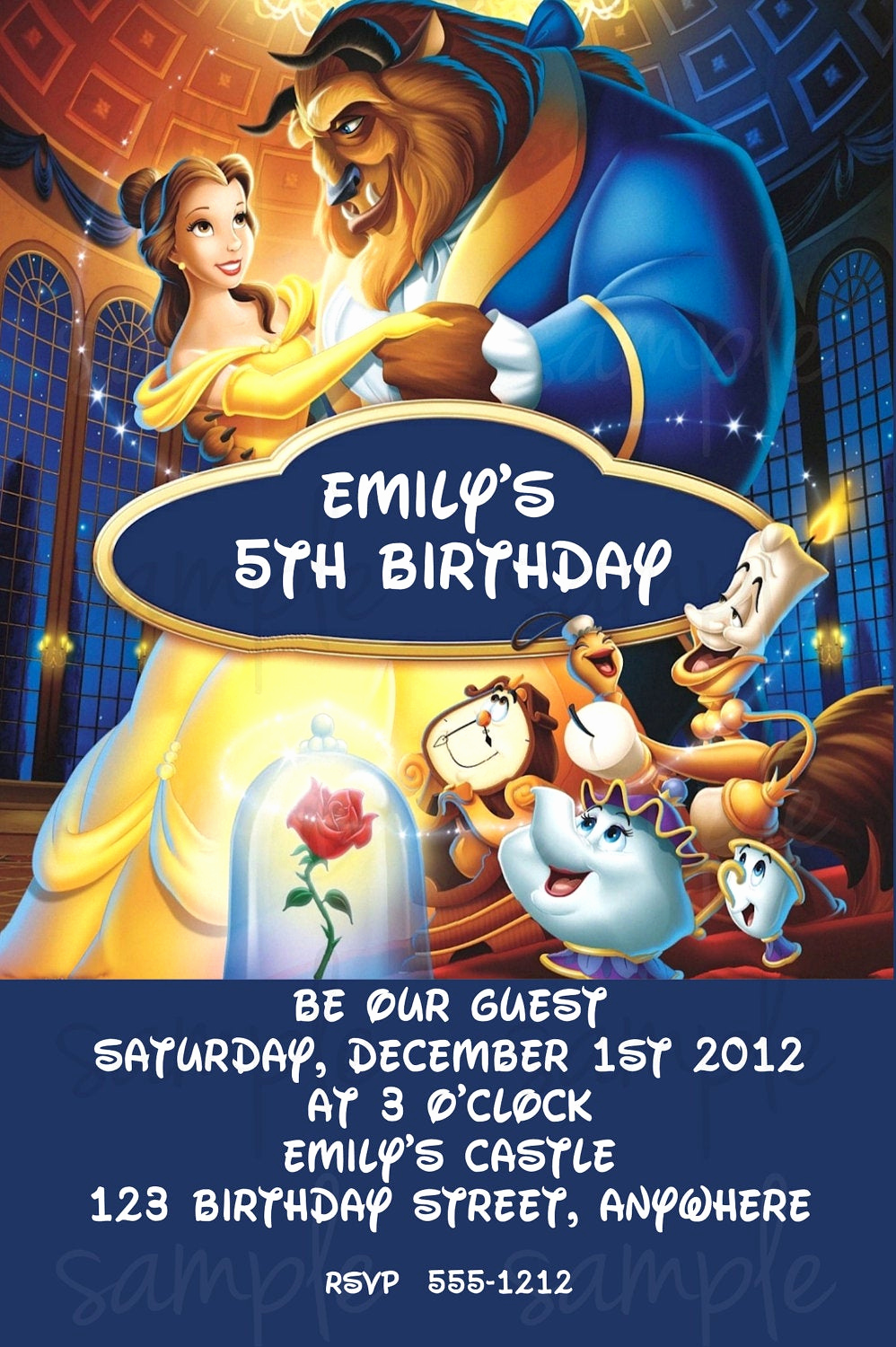 Beauty and the Beast Invitation Fresh Beauty and the Beast Birthday Invitation