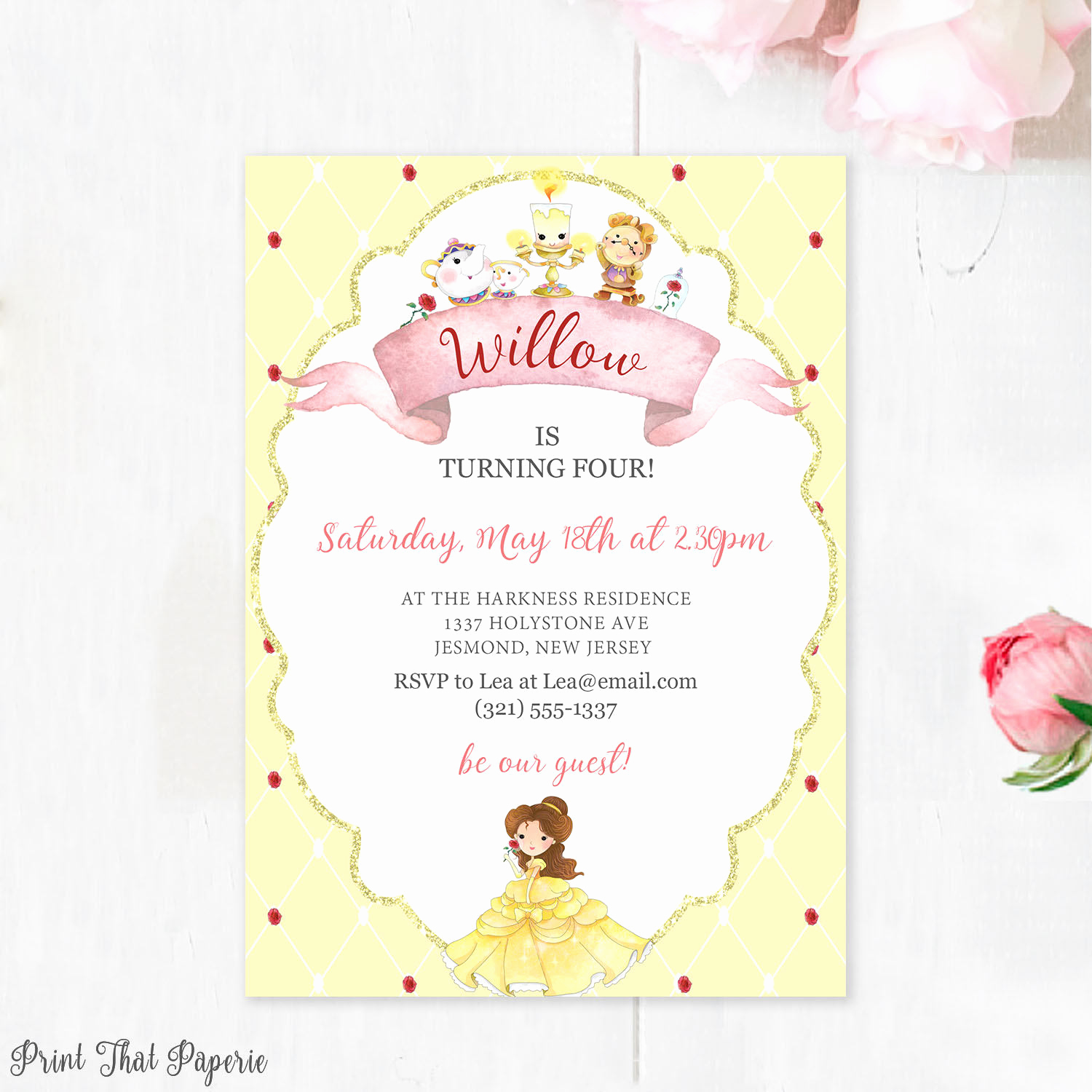 Beauty and the Beast Invitation Inspirational Beauty and the Beast Birthday Invitation Belle Invitation