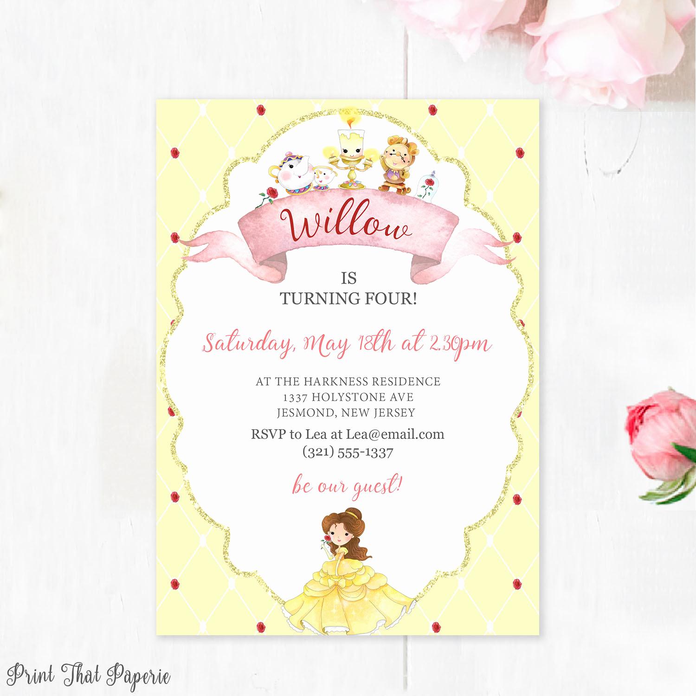 Beauty and the Beast Invitation Inspirational Beauty and the Beast Birthday Invitation Belle Invitation