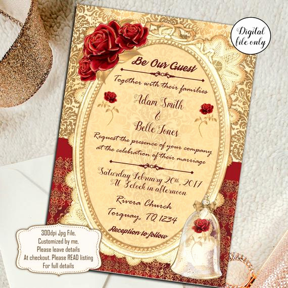 Beauty and the Beast Invitation Inspirational Digital Beauty and the Beast Wedding Invitations