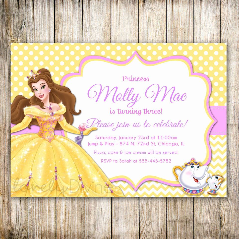Beauty and the Beast Invitation Lovely Beauty and the Beast Birthday Invitation Princess Belle