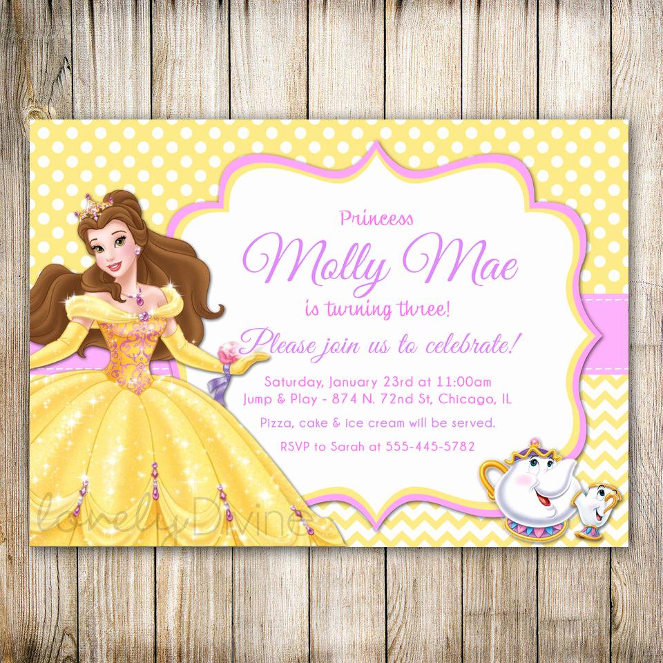 Beauty and the Beast Invitation Lovely Beauty and the Beast Birthday Invitation Princess Belle