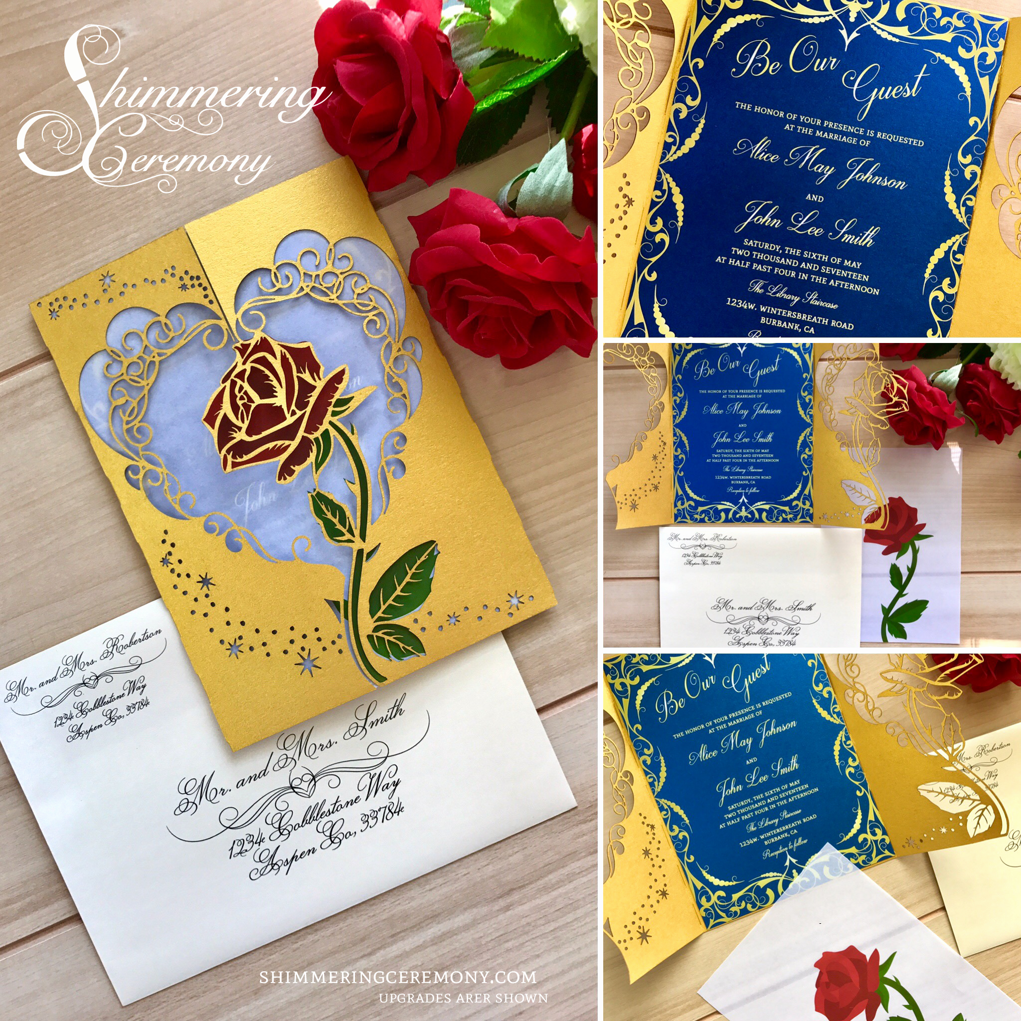 Beauty and the Beast Invitation New Beauty and the Beast Inspired Wedding Invitation Laser