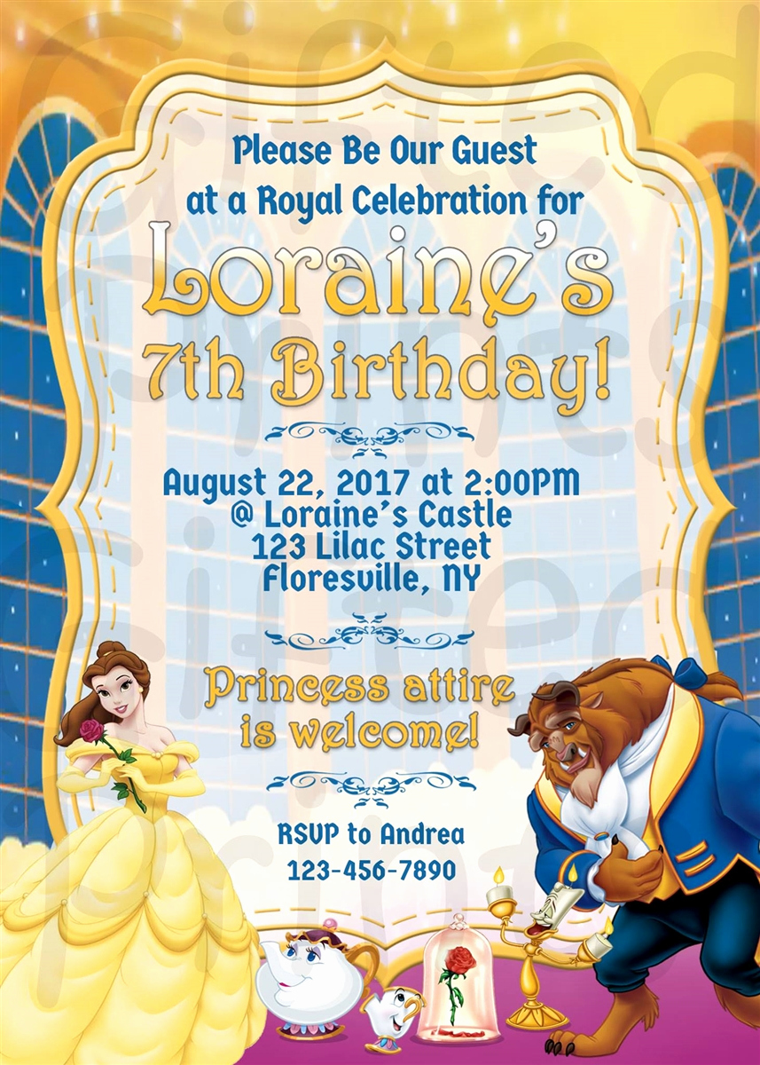 Beauty and the Beast Invitation New Birthday Invitation Beauty and the Beast theme