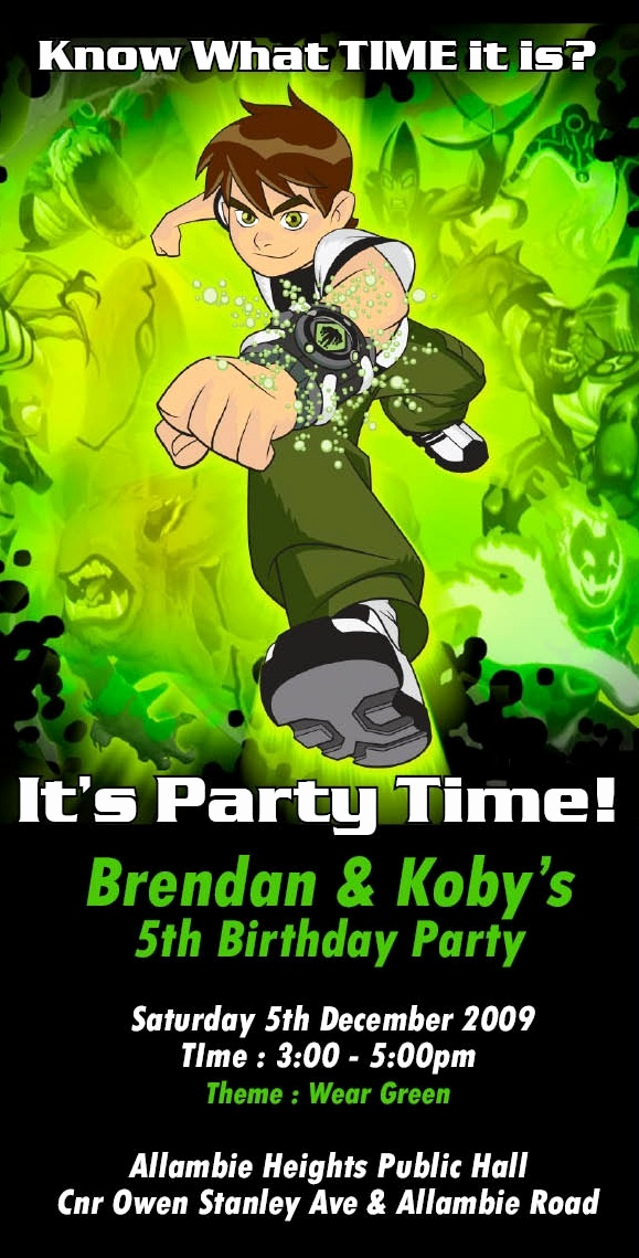 Ben 10 Birthday Invitation Awesome Ben 10 Birthday Invitation