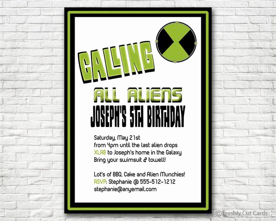 Ben 10 Birthday Invitation Awesome Ben 10 themed Birthday Invitation Printable or by