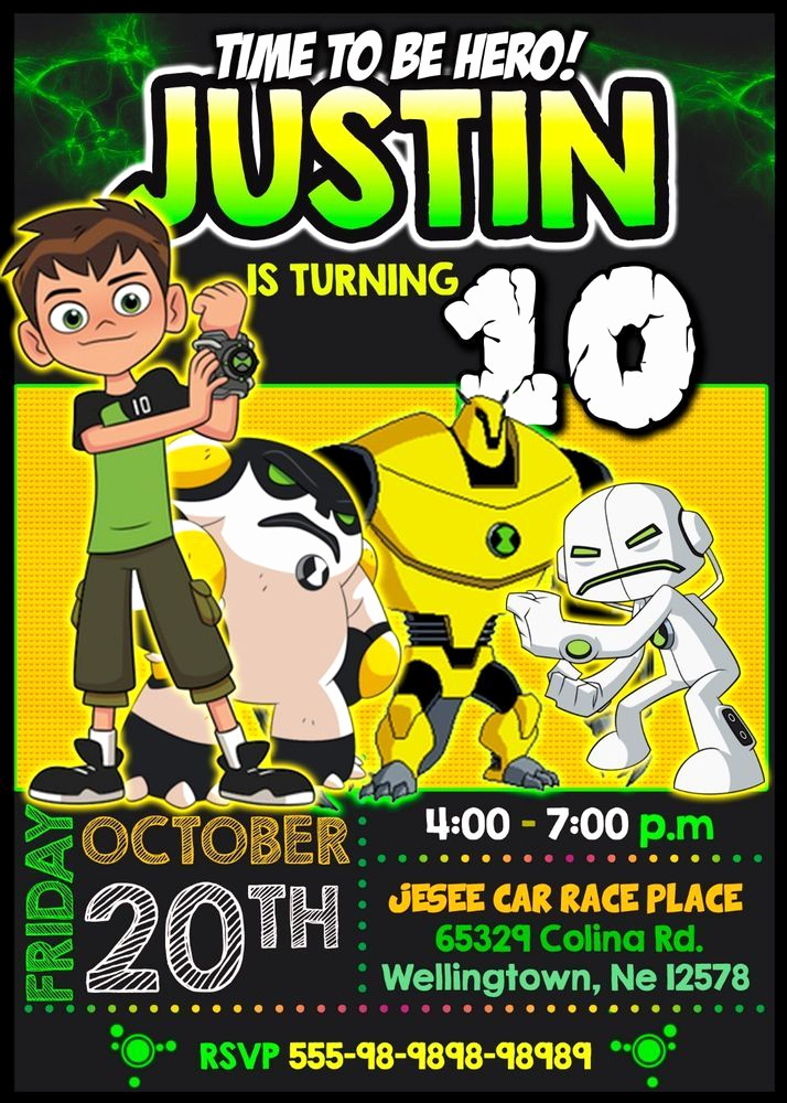 Ben 10 Birthday Invitation Awesome Details About Teen Titans Go Birthday Digital Invitation