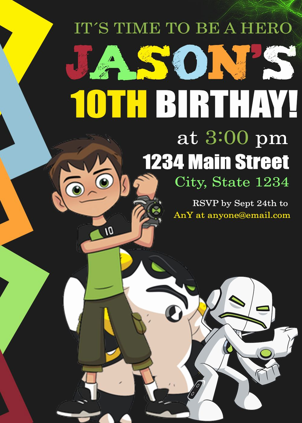 Ben 10 Birthday Invitation Beautiful Ben 10 Birthday Invitation Party Invite Custom Digital