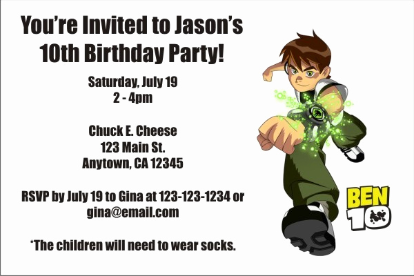 Ben 10 Birthday Invitation Elegant Ben 10 Invitations 3 Personalized Party Invites