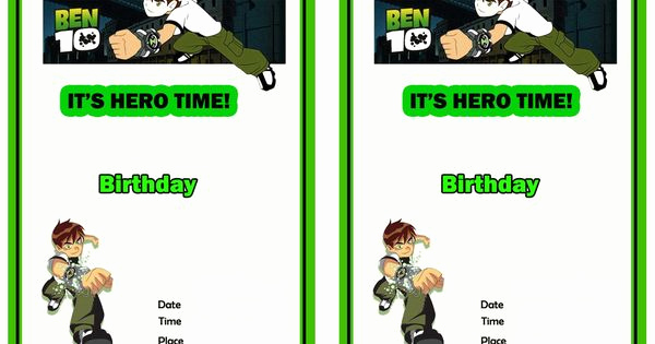 Ben 10 Birthday Invitation Fresh Ben 10 Free Printable Birthday Party Invitations