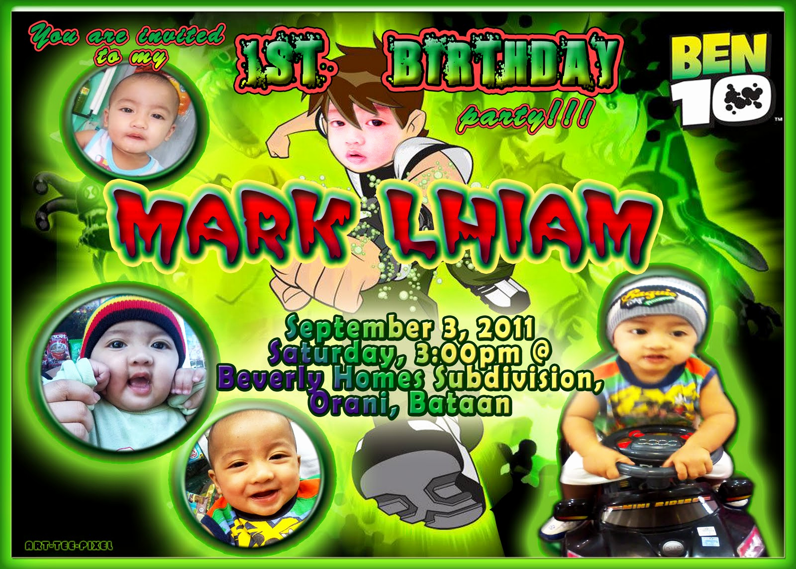 Ben 10 Birthday Invitation Lovely Art Tee Pixel Lay Out Making and Video Editing Ben 10