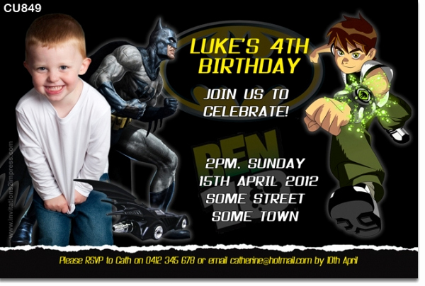 Ben 10 Birthday Invitation Luxury Cu849 Batman and Ben 10 Birthday Invitation Boys