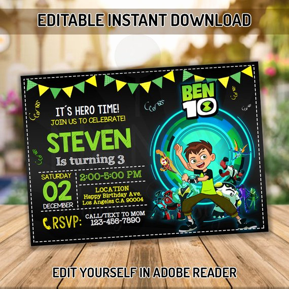 Ben 10 Birthday Invitation New Editable Ben 10 Invitation Ben 10 Birthday Party