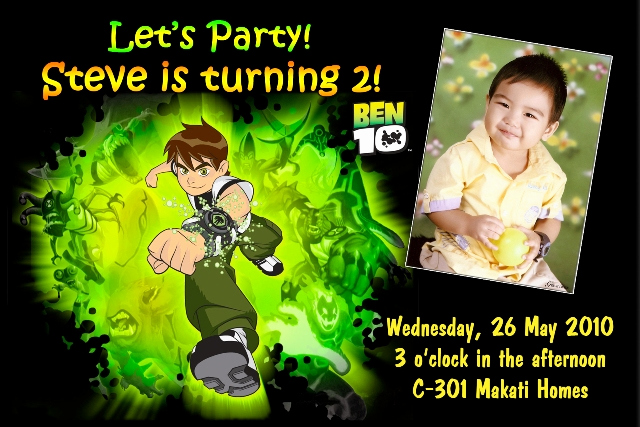 Ben 10 Birthday Invitation New Steve Ben10 Invitation