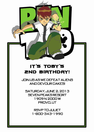 Ben 10 Birthday Invitation Unique Ben 10 Birthday Party Invitation ← Wedding Invitation