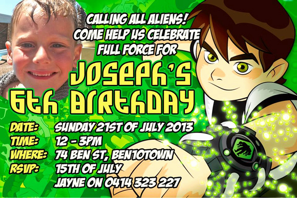 Ben 10 Birthday Invitation Unique Dream Designs & Graphy