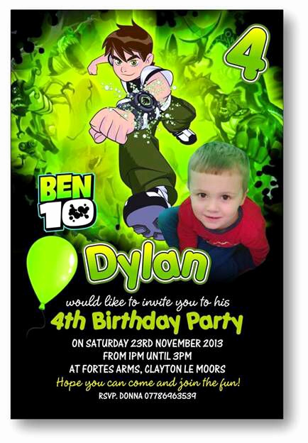 Ben 10 Birthday Invitation Unique Dylan S Actual Ben 10 Birthday Invite for Ben