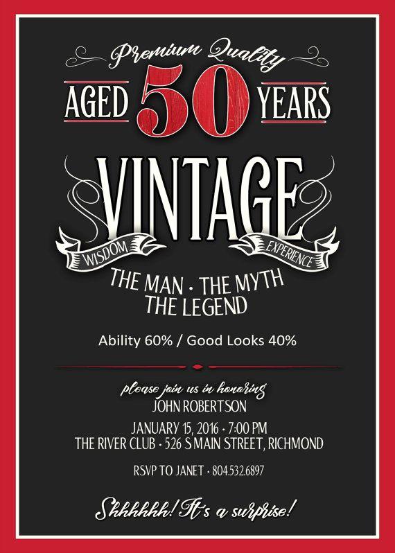 Best Man Invitation Ideas Elegant 50th Birthday Invitation for Men Jpeg Printable Aged