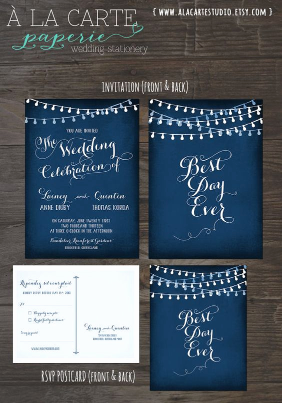 Best Wedding Invitation Cards Designs Unique String Light Chalkboard Wedding Invitation Card and Rsvp