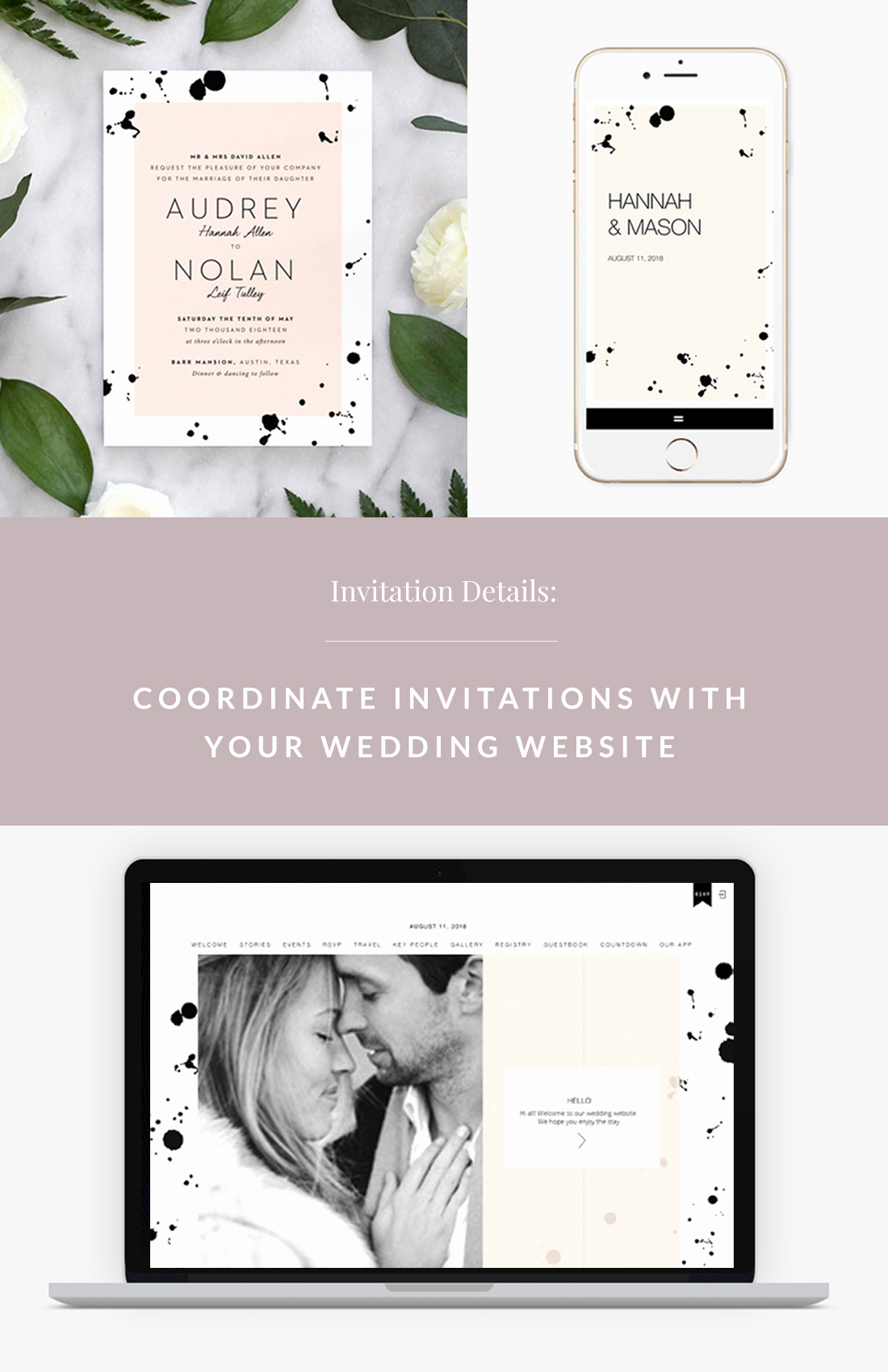 Best Wedding Invitation Sites Awesome Coordinate Invitations with Your Wedding Website with Fine
