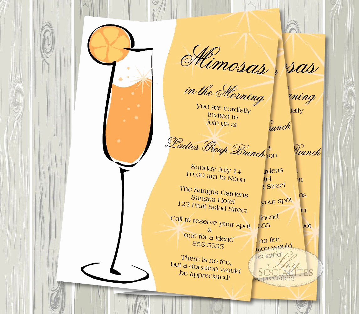 Birthday Brunch Invitation Wording Awesome Mimosa Invitation Champagne Brunch Bridal Shower Brunch