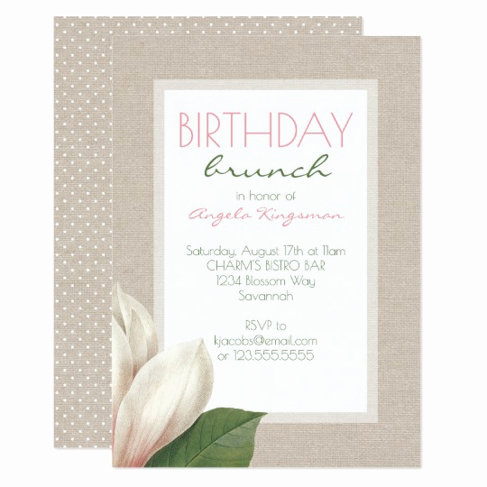 Birthday Brunch Invitation Wording Elegant Magnolia Bloom La S Birthday Brunch Invitation