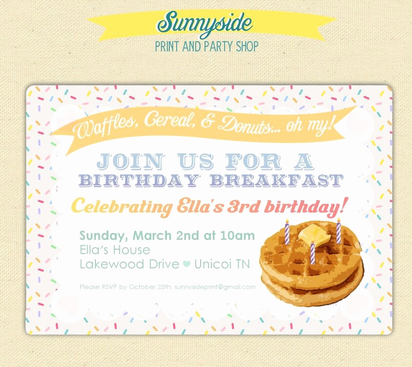 Birthday Brunch Invitation Wording Lovely Birthday Breakfast Invitation with Waffles Burlap and