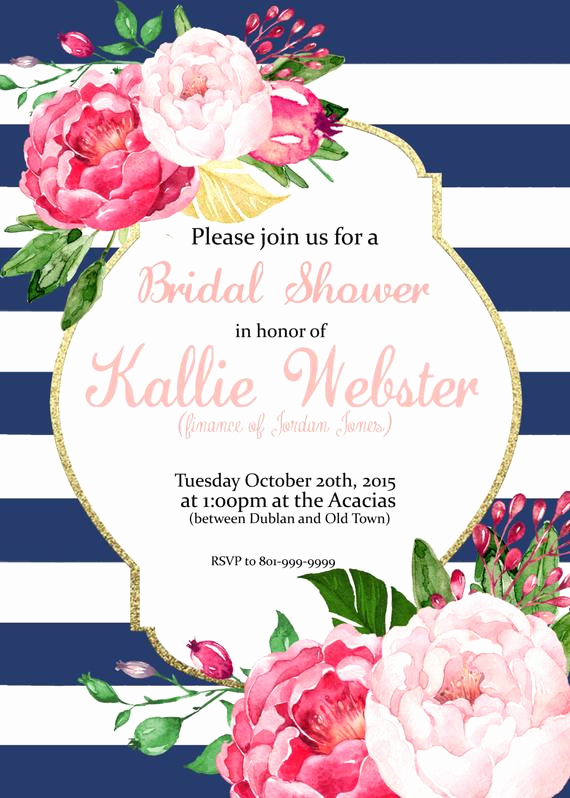 Birthday Brunch Invitation Wording Lovely Pink Floral Stripes Invitation Bridal Shower Baby