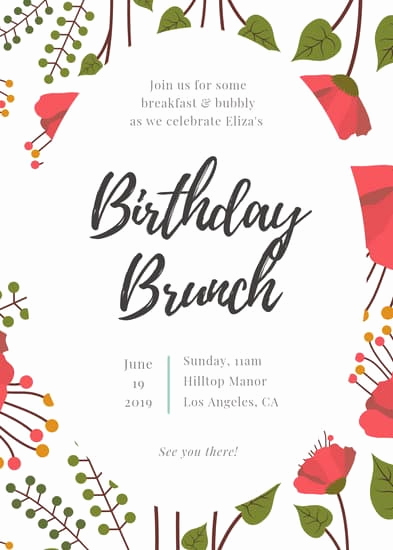 Birthday Brunch Invitation Wording Unique Floral Birthday Brunch Invitation Portrait Templates by