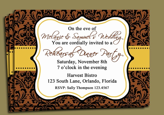 Birthday Dinner Invitation Wording Inspirational Brown Damask Invitation Printable Fall Party Thanksgiving