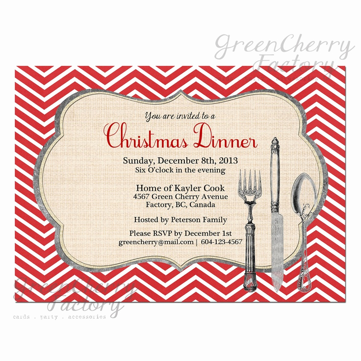 Birthday Dinner Invitation Wording Inspirational Christmas Party Dinner Invitation Red Chevron Background