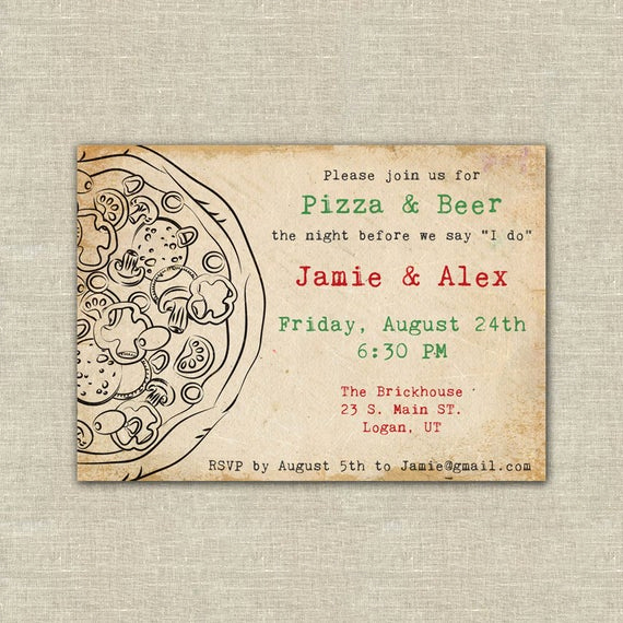 Birthday Dinner Invitation Wording Lovely Items Similar to Pizza and Beer Party Pizza Party