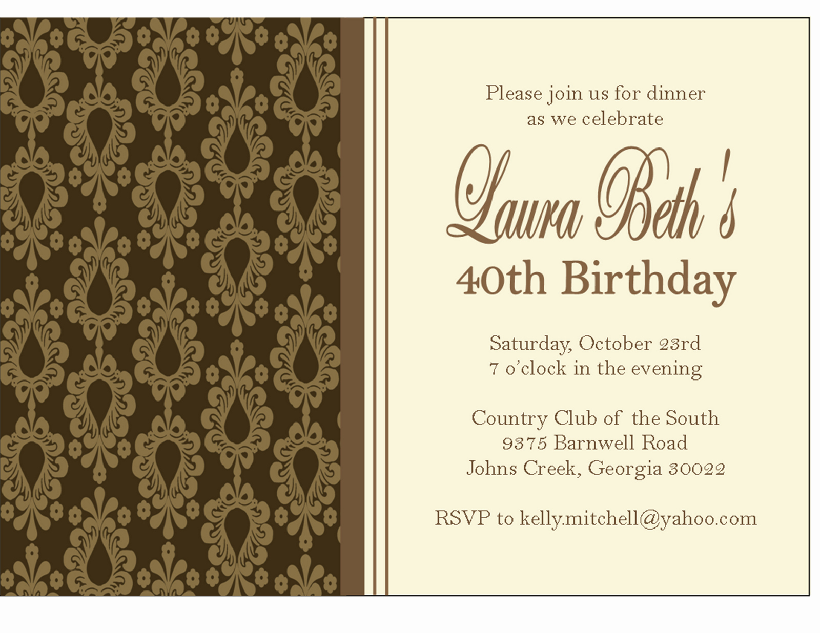 Birthday Dinner Invitation Wording Unique the Sweet Peach Paperie Damask Dinner Party Invitations
