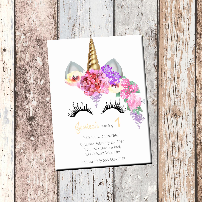 unicorn birthday personalized invitation 1 sided birthday card party invit