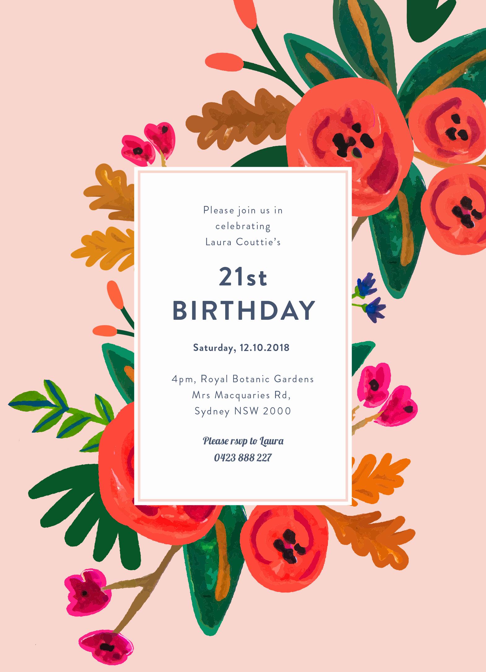 Birthday Invitation Card Ideas Elegant Floral Birthday Dp