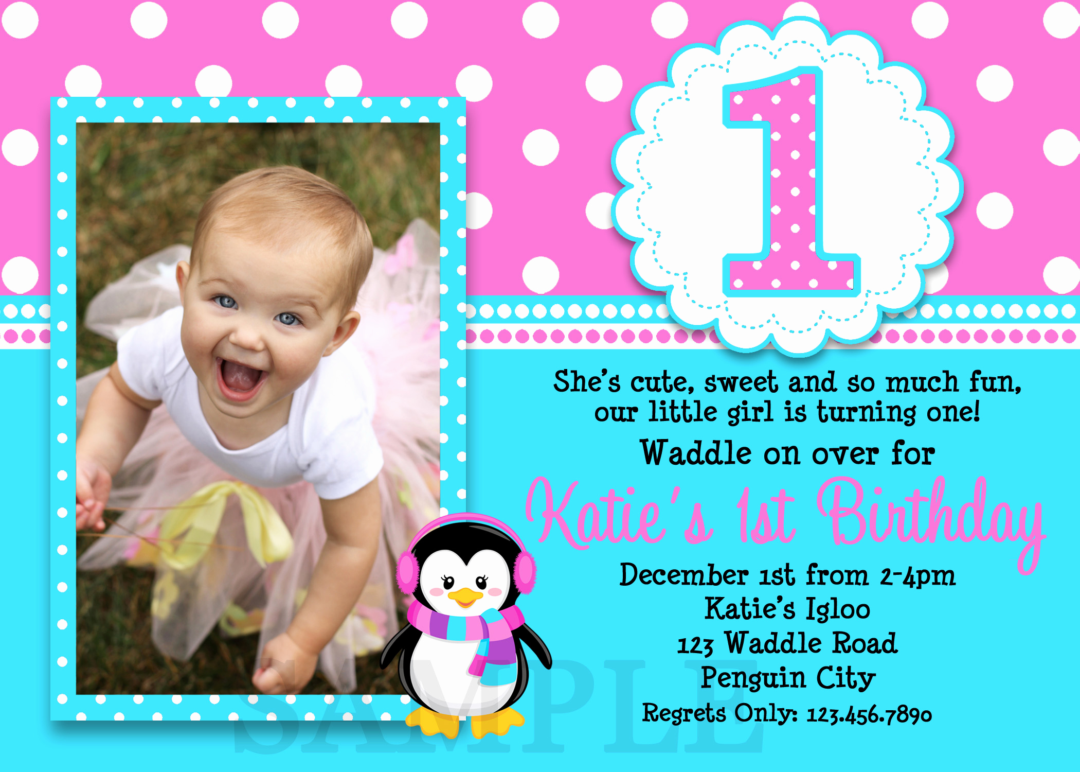 Birthday Invitation Card Ideas New 1st Birthday Invitations Girl Free Template Baby Girl S