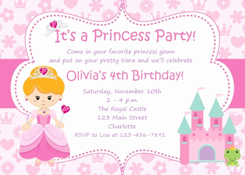 Birthday Invitation Card Sample New Princess Birthday Party Invitations