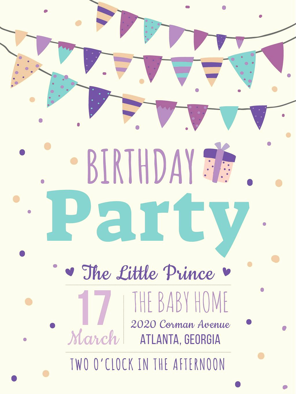 Birthday Invitation Card Template Beautiful Birthday Party Invitation Card Poster Us 18x24in Template