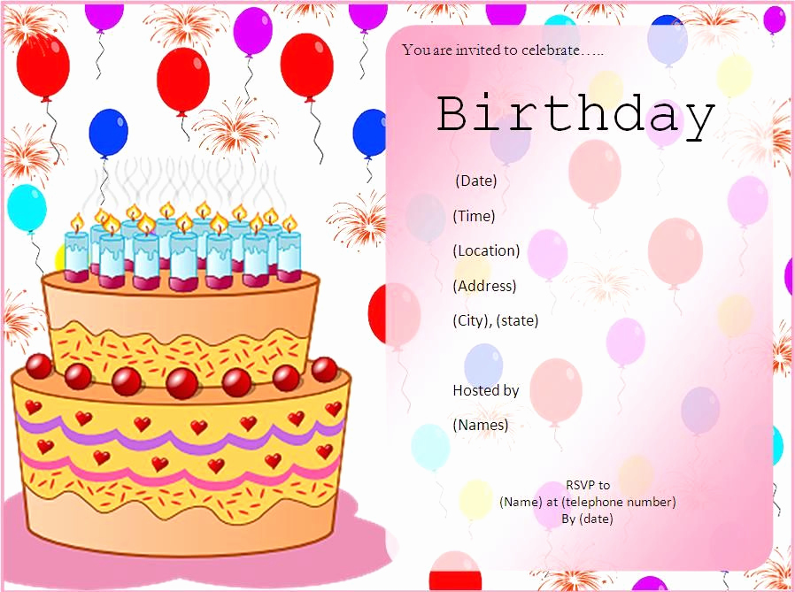 Birthday Invitation Card Template Beautiful Get Birthday Party Invitation Template