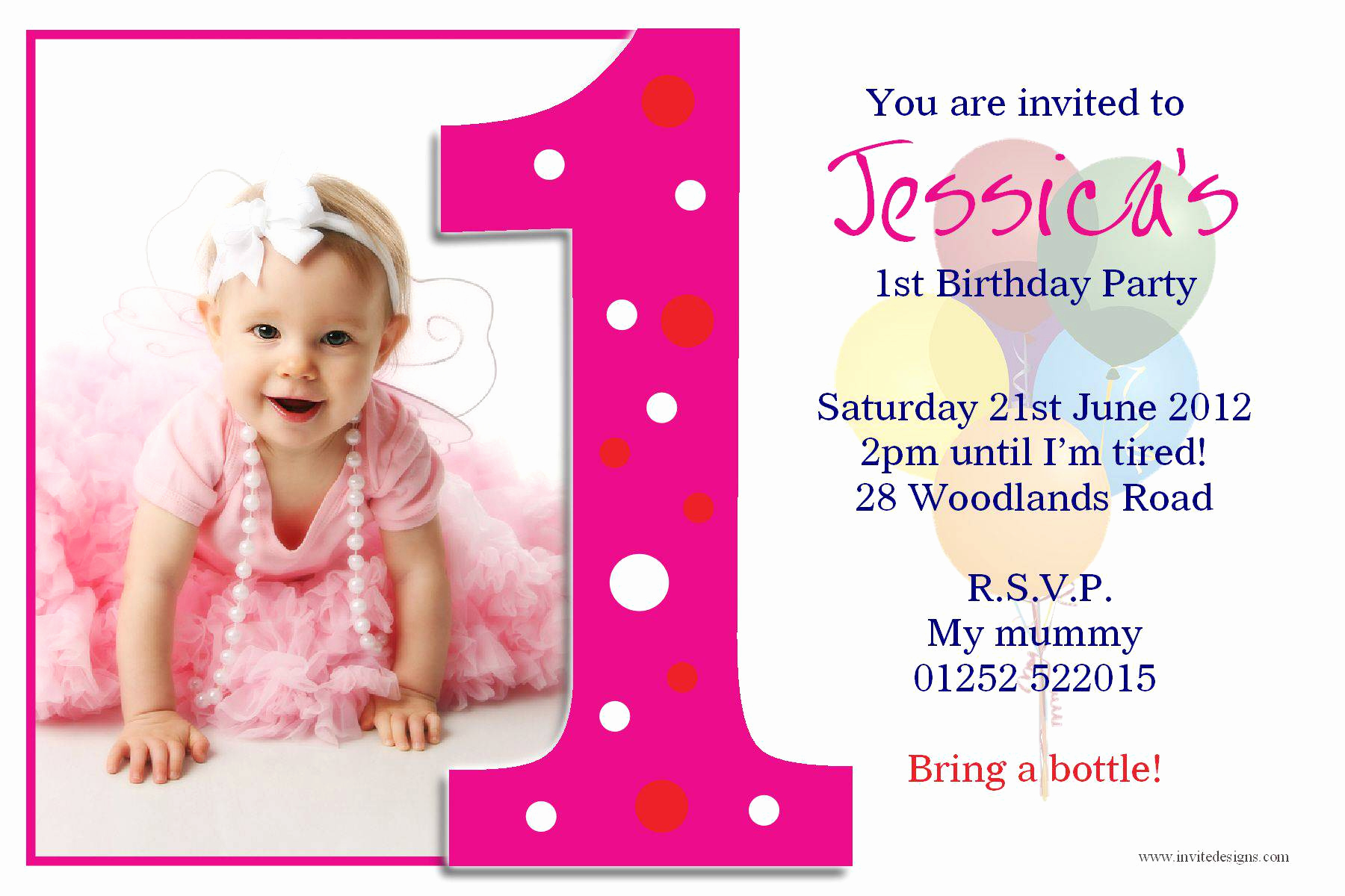 Birthday Invitation Card Template Inspirational First Birthday and Baptism Invitations First Birthday