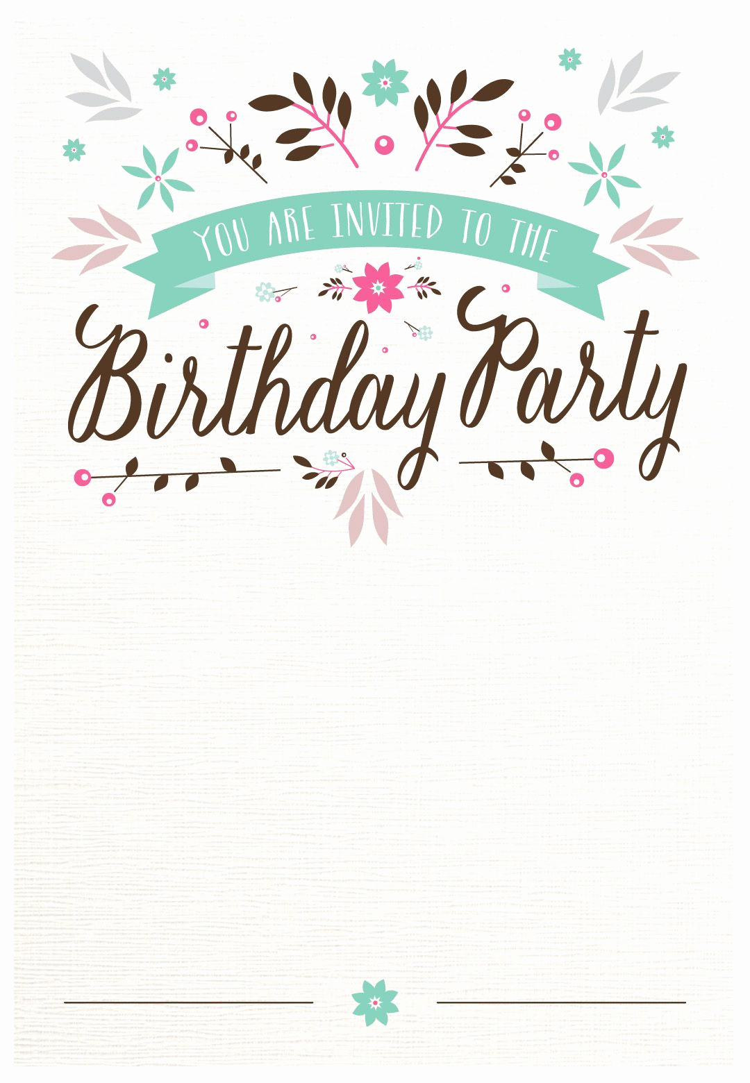 Birthday Invitation Card Template Lovely Flat Floral Free Printable Birthday Invitation Template
