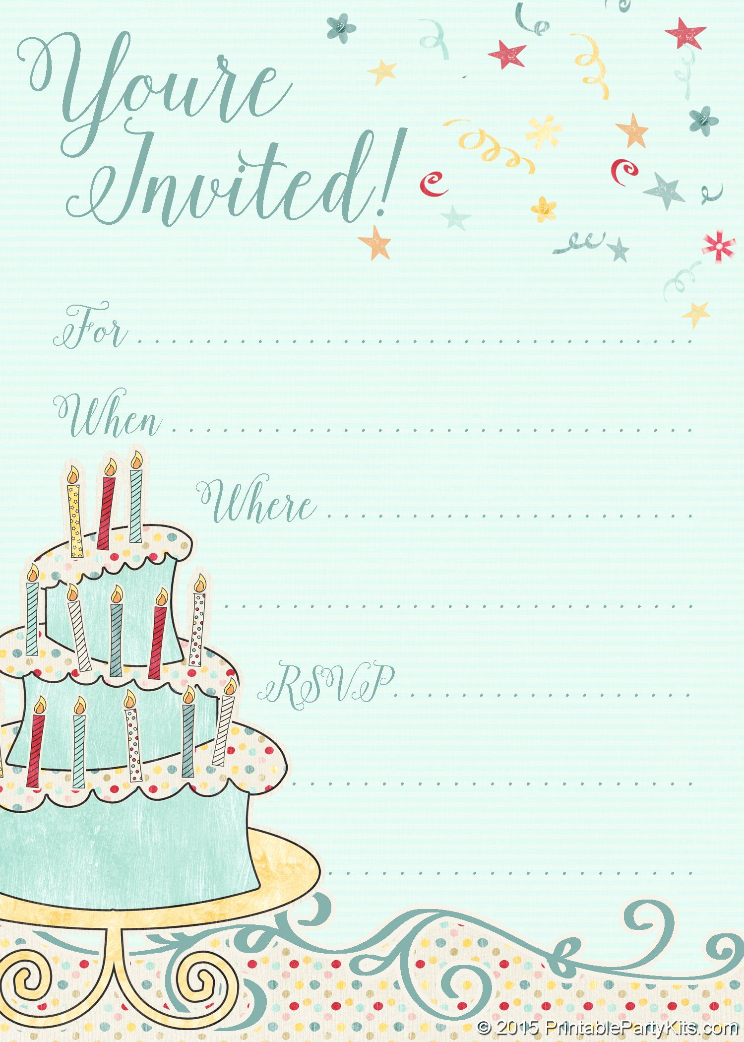 Birthday Invitation Card Template Luxury Free Printable Whimsical Birthday Party Invitation