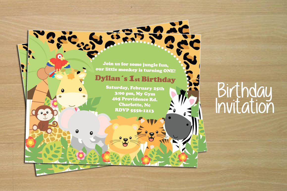 Birthday Invitation Card Template New Birthday Invitation Card Jungle Invitation Templates