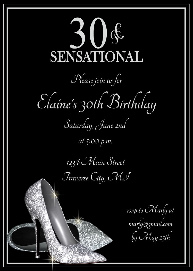 Birthday Invitation Ideas for Adults Beautiful Silver Glitter Shoes Adult Birthday Party Invitations