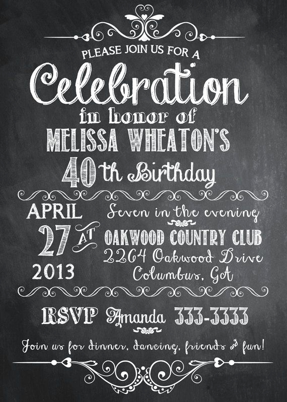 Birthday Invitation Ideas for Adults Fresh Chalkboard Adult Birthday Party Invitation Printable