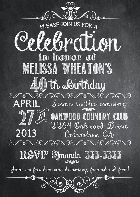 Birthday Invitation Ideas for Adults Fresh Chalkboard Adult Birthday Party Invitation Printable