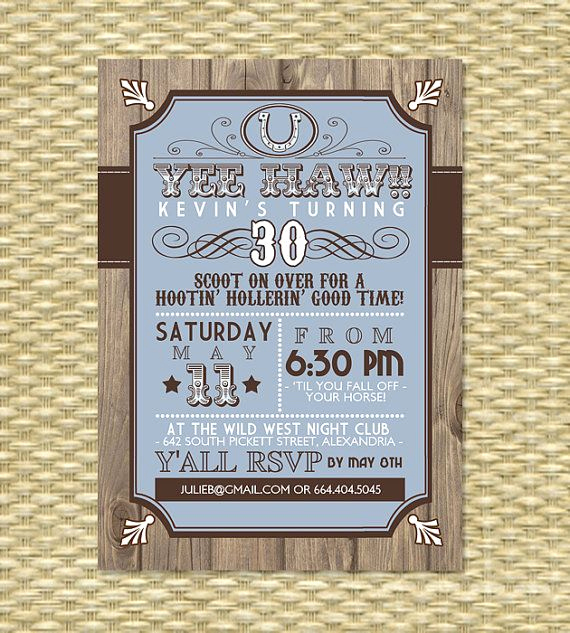 Birthday Invitation Ideas for Adults Inspirational Country Western Adult Birthday Invitation by