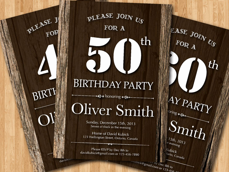 Birthday Invitation Ideas for Adults Lovely 50th Adult Birthday Invitation Wood Texture Western